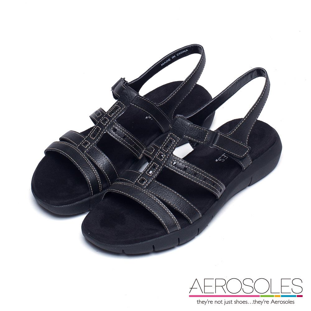 AEROSOLES 幾何鏤空繫帶魔鬼氈式涼鞋~尊爵墨黑