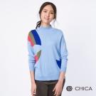 CHICA 普普知青現代色塊高領拼接針織衫(2色)