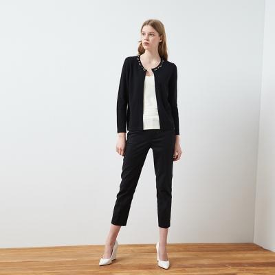 時尚簡約俐落釘飾百搭好感針織黑外套