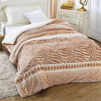 羽織美 豹紋狂野 3D立體雕花舖棉羊羔絨毯被