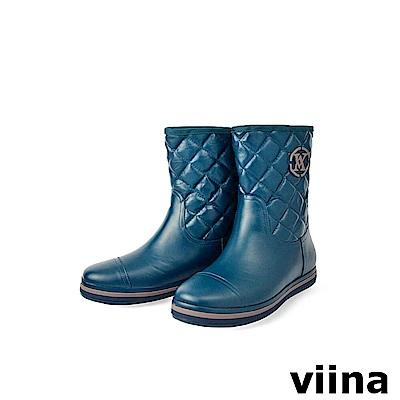 viina 中筒菱格紋雨靴-藏青色