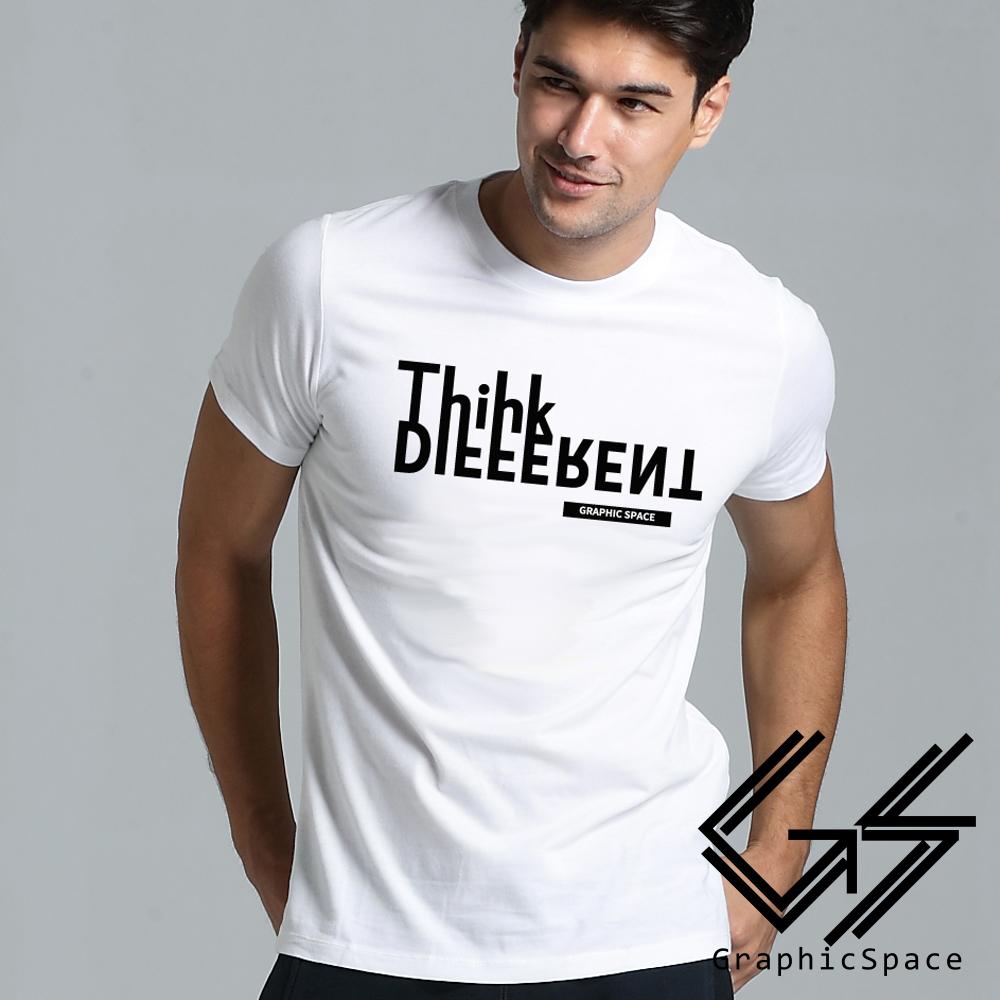 換位思考 變形英文字母磨毛水洗T恤 (白色)-GraphicSpace