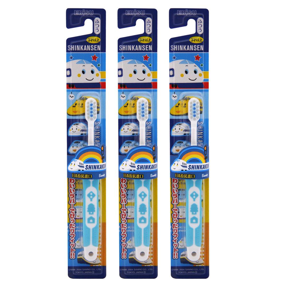 日本EBISU-新幹線軟柄兒童牙刷×3入-顏色隨機