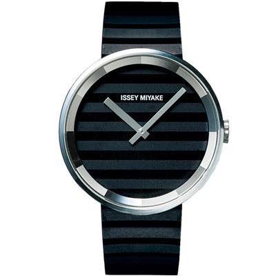 ISSEY MIYAKE 三宅一生PLEASE時裝系列腕錶SILAAA01Y-黑/40mm