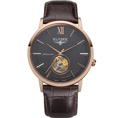 ELYSEE Picus 小鏤空經典機械錶-灰x玫瑰金色/41mm
