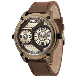 POLICE 捍衛戰警雙時區皮革手錶-金X咖啡 /50mm