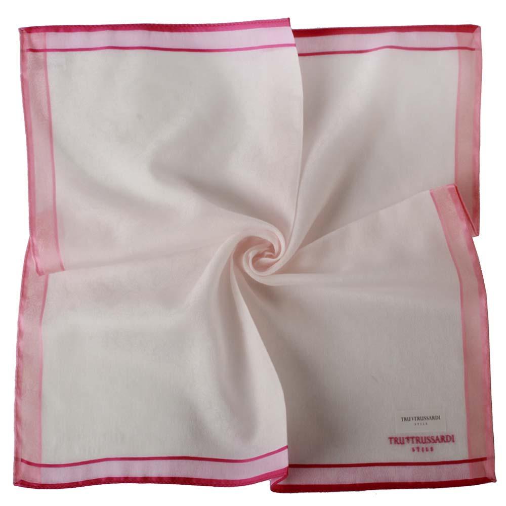 TRUSSARDI 刺繡LOGO滿版圖騰壓紋帕巾-粉
