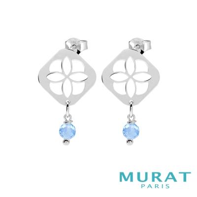 MURAT Paris米哈巴黎 藍色玉石菱形圖騰垂吊耳環