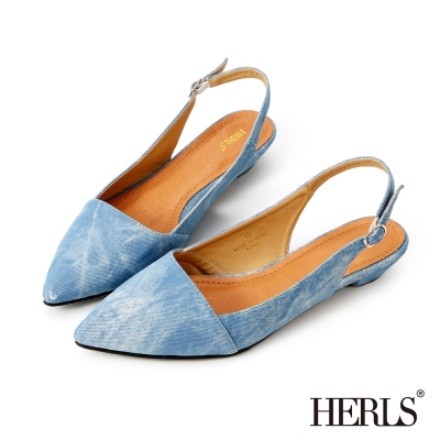 HERLS-經典復刻 丹寧刷色微跟涼鞋-藍色