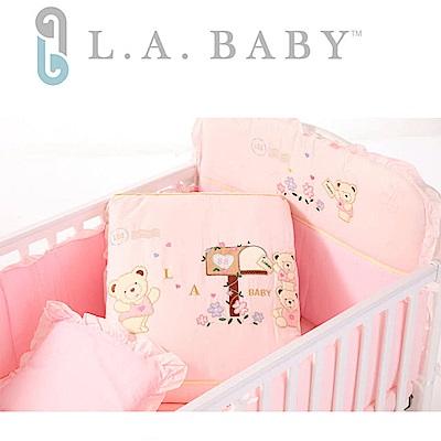 美國 L.A. Baby 熊寶貝純棉七件式寢具組(M( 藍色/粉色/米色)