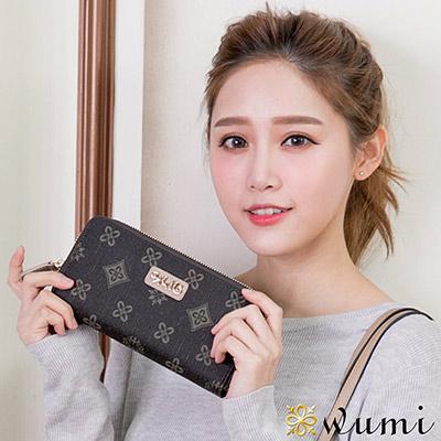 WuMi-無米-凱絲花漾圖騰雙拉隔層長夾-樺木杏