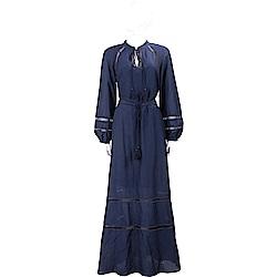 TORY BURCH Sonia 珠飾縷空細節深藍流蘇度假洋裝