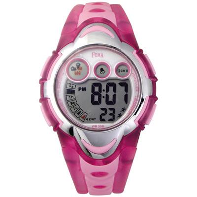 FEMA 可愛輕盈 計時鬧鈴 數位運動錶(P276G)-粉/34mm