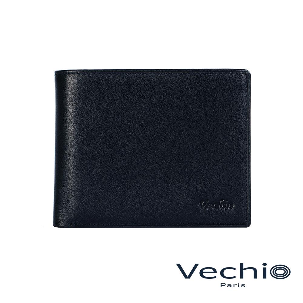 VECHIO-紳士商務款II-經典素面皮革8卡皮夾-午夜藍