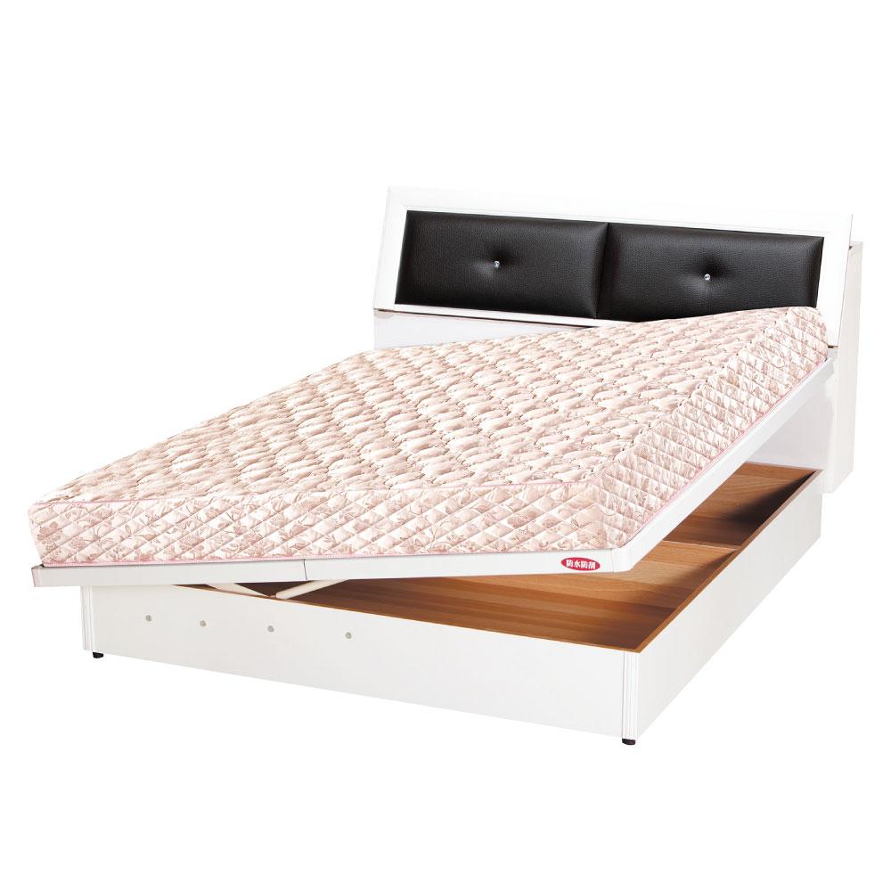 品家居 艾肯6尺雙人加大側掀式床台(六色可選)-185x223x86cm免組