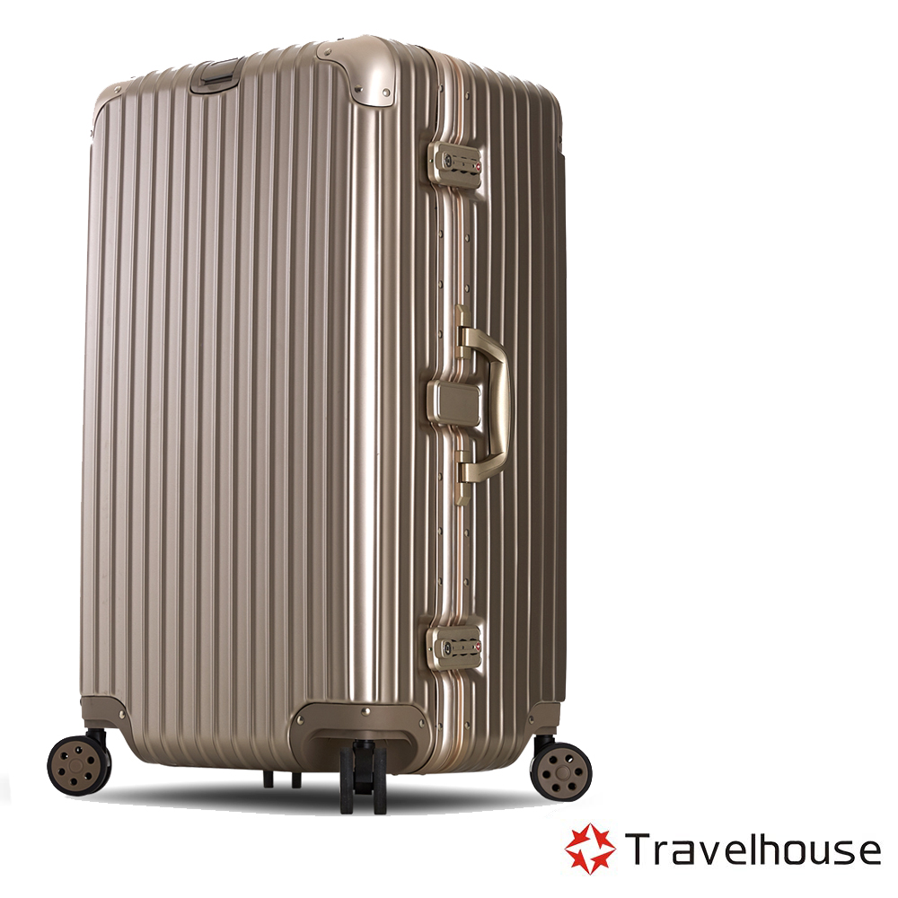 Travelhouse尊爵天際29吋PC運動款鋁框行李箱香檳金