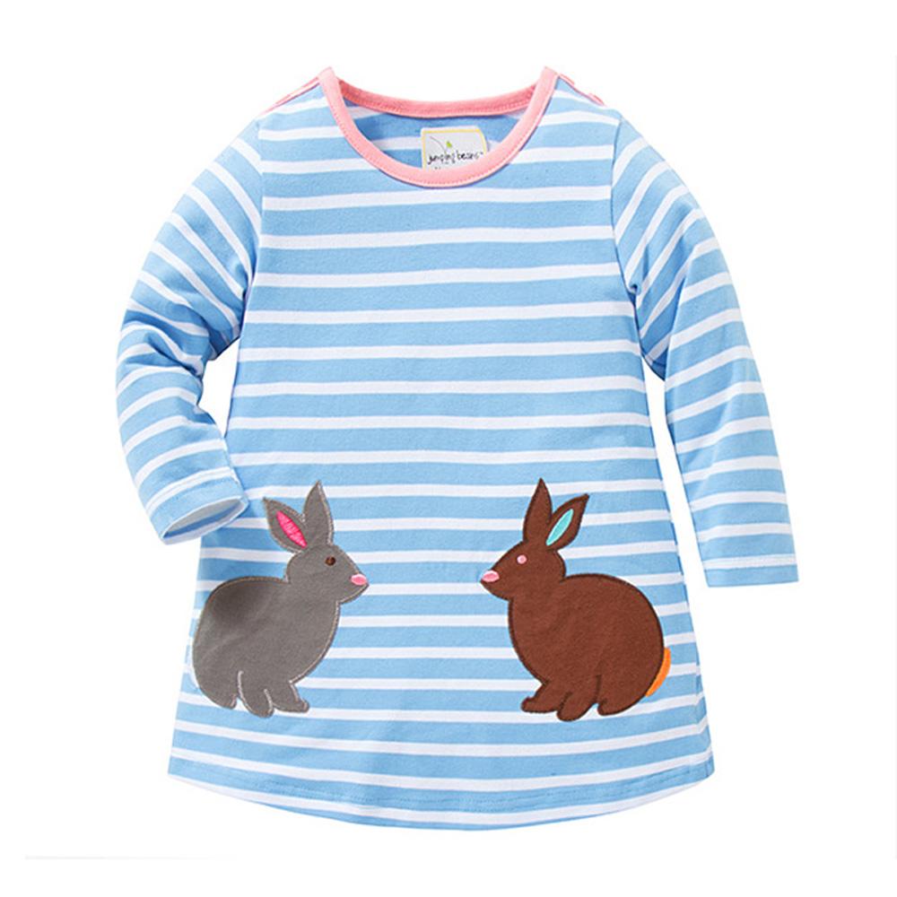 歐美風 女童 純棉長版 長袖T恤-藍條紋
