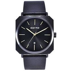 GOTO 復刻運動風方形時尚手錶-IP黑x金/44mm
