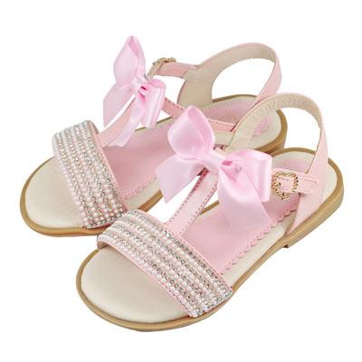Swan天鵝童鞋-夢幻排鑽T字蝴蝶結緞帶涼鞋 3783-粉