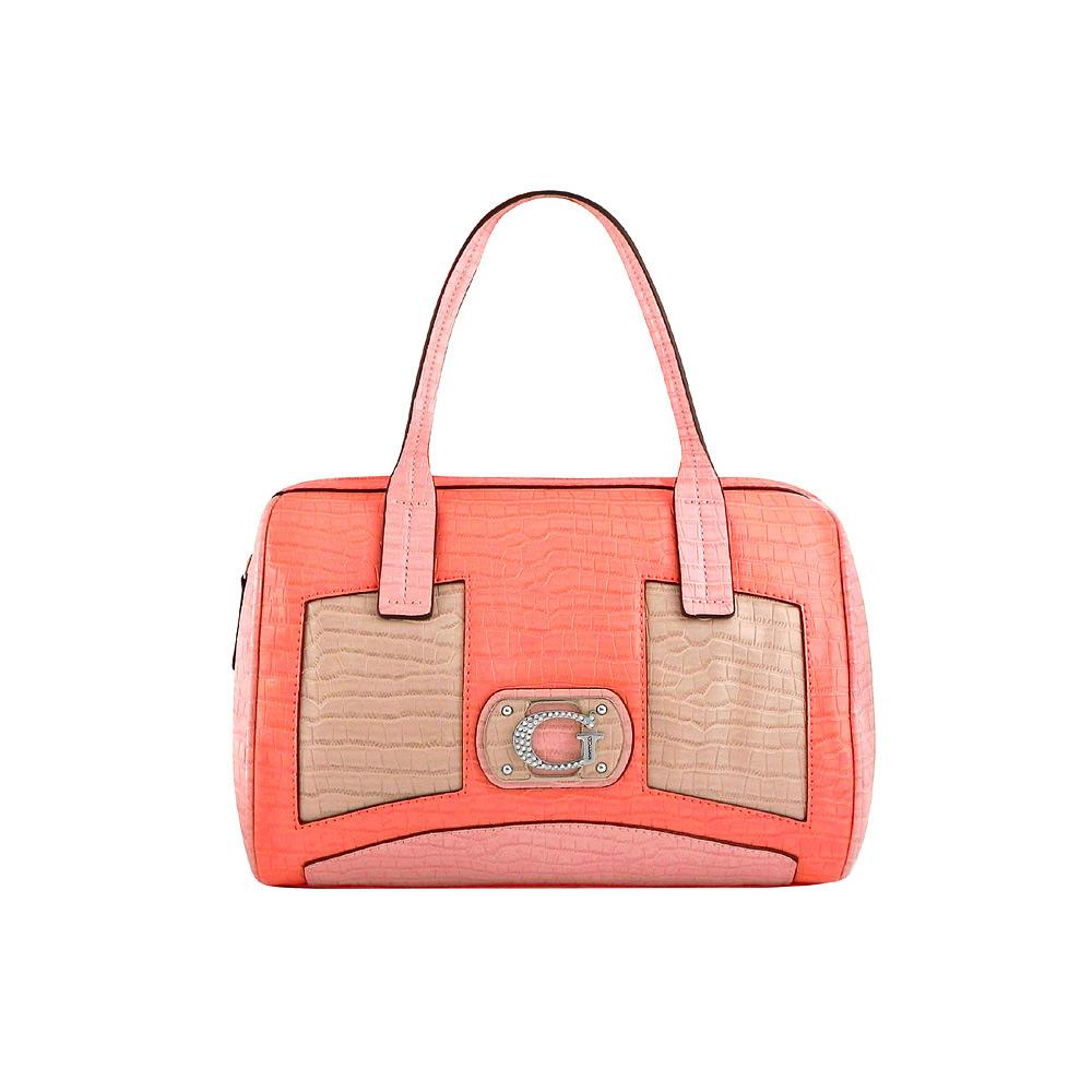 GUESS 粉橘色皮革鱷魚紋波士頓包