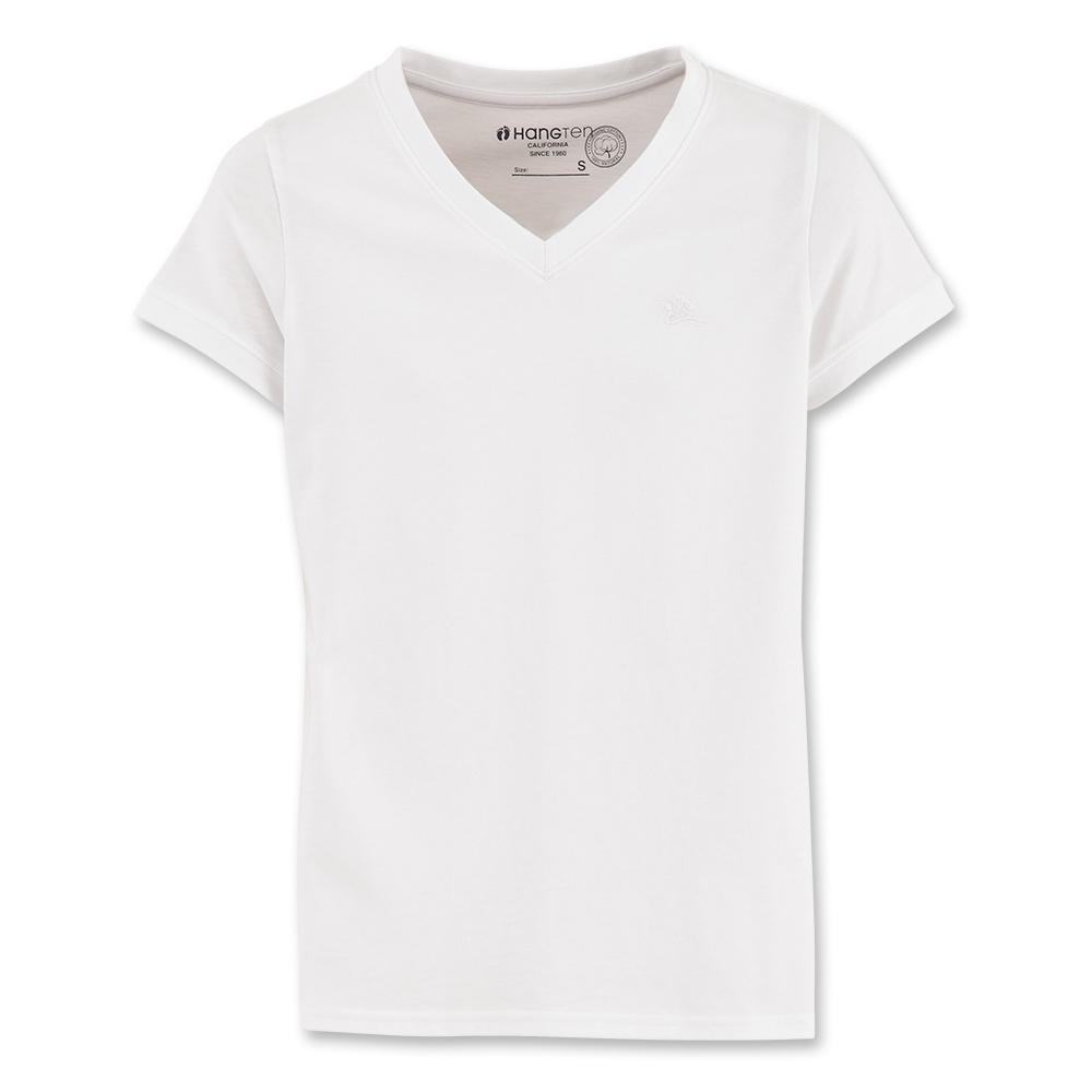Hang Ten - 女裝 - 有機棉基本多彩 V領T-SHIRT-白