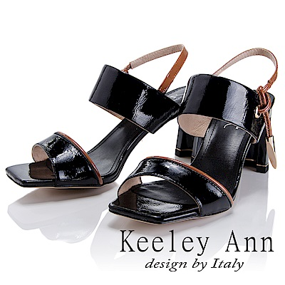 Keeley Ann 簡約美感~金屬墜飾漆皮質感中跟涼鞋(黑色-Asin系列)