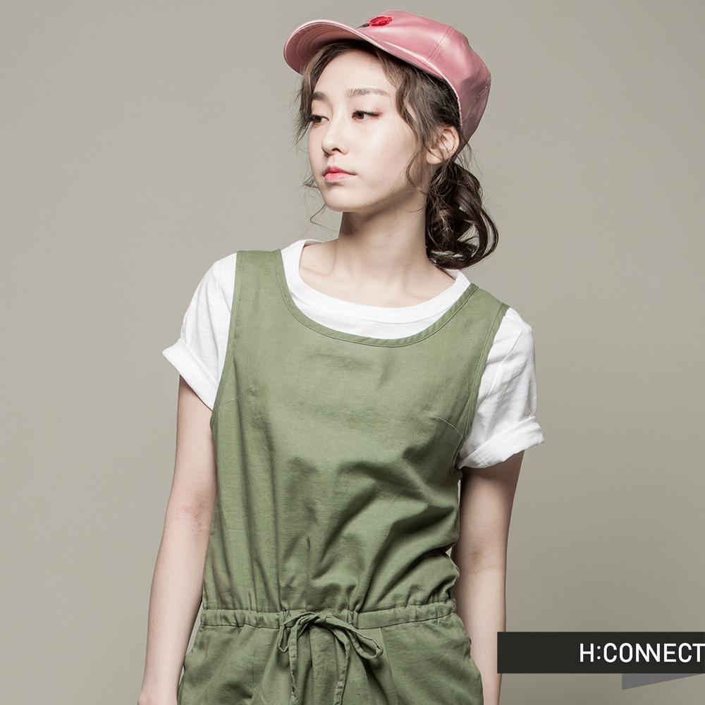 H:CONNECT 韓國品牌 女裝 - 素面混紡短袖上衣 - 白(快)