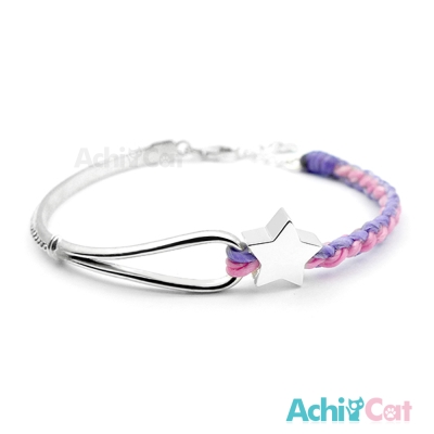AchiCat 蠶絲蠟繩手鍊 925純銀飾 夢幻冒險(粉紫)