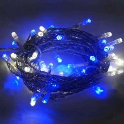 聖誕燈50燈LED樹燈串(藍白光/透明線)(附控制器跳機)高亮度又省電