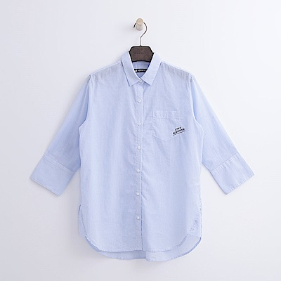 Hang Ten - 女裝 - 條紋七分袖襯衫-藍色