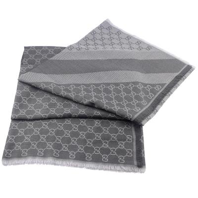 GUCCI 灰/銀灰色 G LOGO雙色條紋羊毛混紡方形圍巾披肩(大)