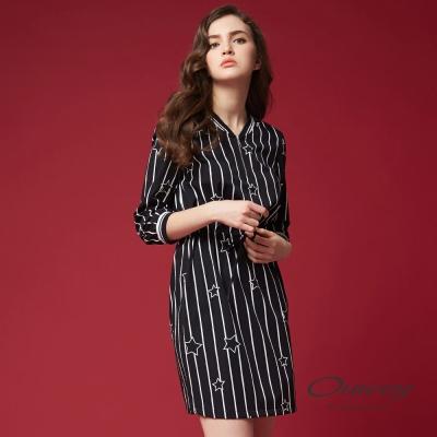 OUWEY歐薇 簡約條紋星星印花洋裝(黑)