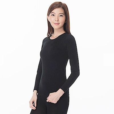 zuzai 自在發熱衣親膚羽感長袖保暖衣-女-黑色