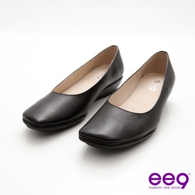 ee9 優雅美人~通勤必備復古方頭超柔軟真皮楔型鞋~素雅黑