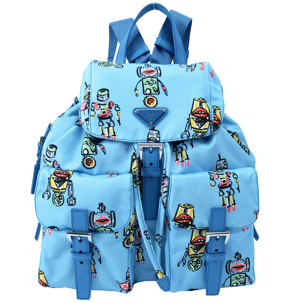 PRADA Robot機器人印花雙口袋翻蓋後背包(粉藍)