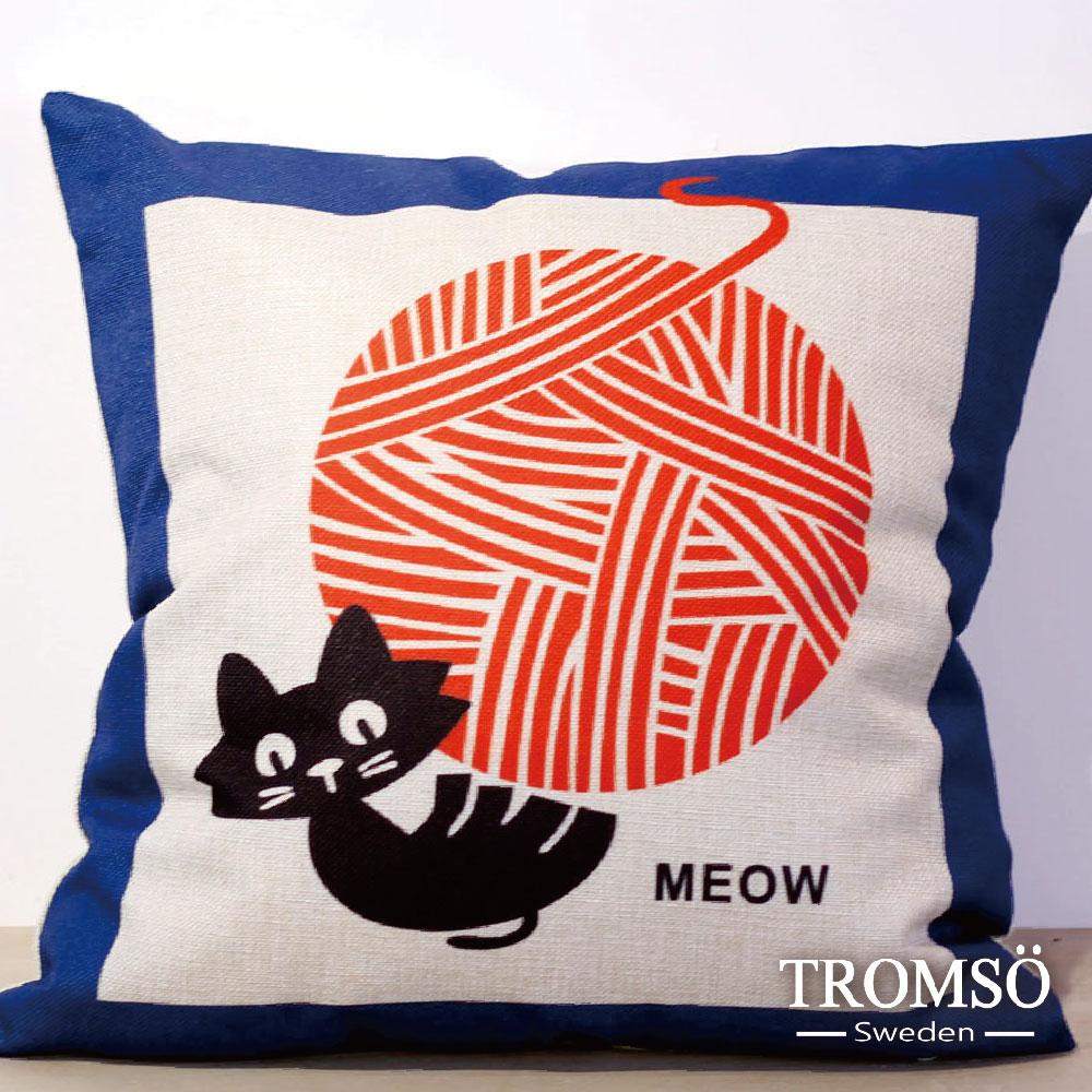 TROMSO-品味英倫棉麻抱枕-線球貓咪