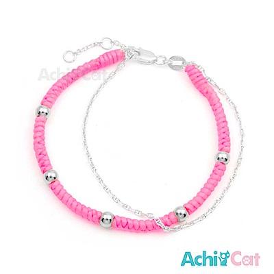 AchiCat 蠶絲蠟繩手鍊 925純銀 五福臨門(粉色)