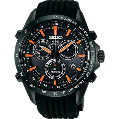 SEIKO ASTRON GPS衛星定位太陽能電波腕錶(SSE017J1)-黑x橘時標/45mm