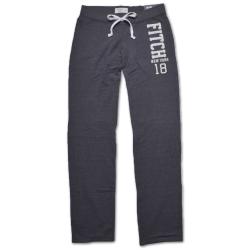 A&F Abercrombie & Fitch 亮片貼布抽繩休閒長褲-深灰