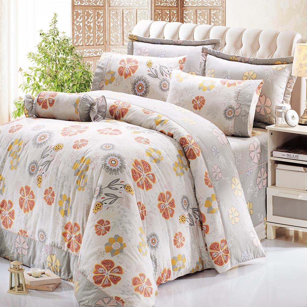 鴻宇HongYew 100%精梳棉 尤勒莉亞 雙人加大七件式兩用被床罩組
