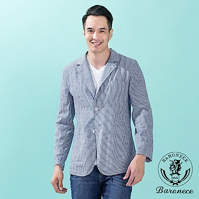 BARONECE 時尚休閒品味修身獵裝 藍白條(222641-25)