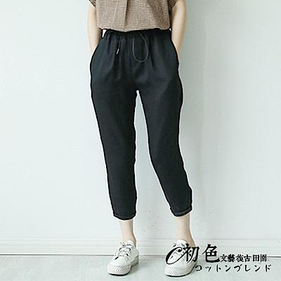 抽繩鬆緊腰直筒七分褲-共3色(M-XL可選)      初色