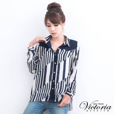 Victoria 幾何條紋雪紡襯衫-女-藍