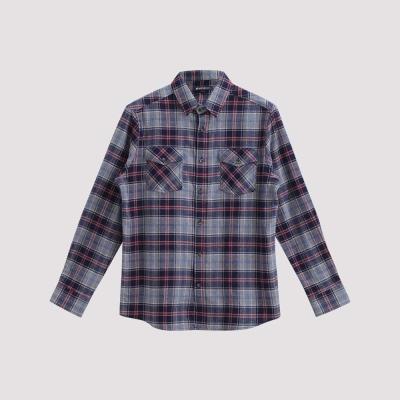 Hang Ten - 男裝 - 雙口袋法蘭絨格紋襯衫 - 灰