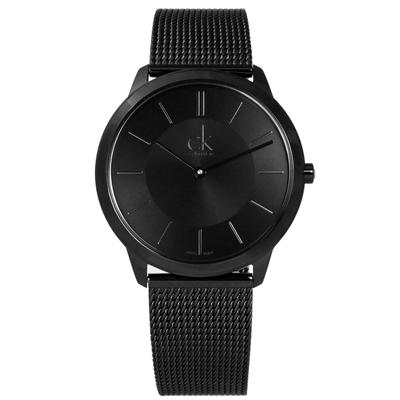 CK  經典時尚簡約米蘭編織不鏽鋼手錶 - 黑色 /39mm