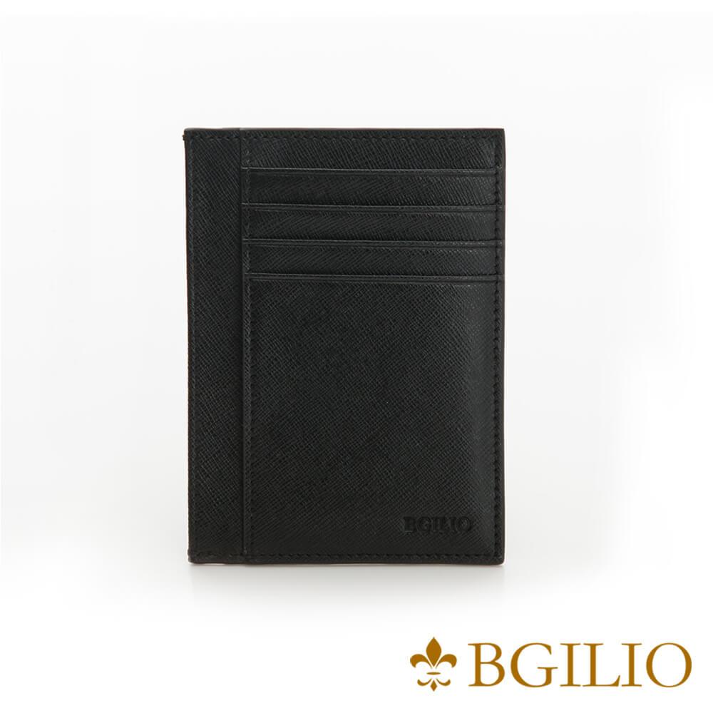 義大利BGilio-都會十字紋牛皮輕薄卡片夾-黑色-2299.310-05