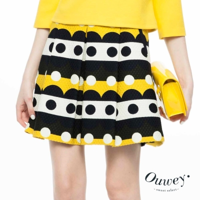 OUWEY歐薇-復古幾何波卡點點褶裙