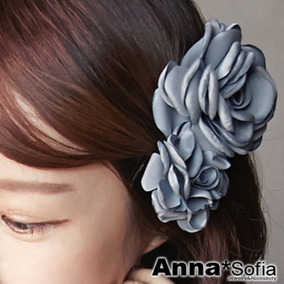 【2件7折】AnnaSofia 浪漫雙花綣 中大型髮夾(灰藍系)