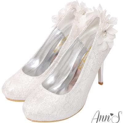 Ann'S Bridal冰山美人後跟珍珠雪紡紗防水台厚底高跟婚鞋