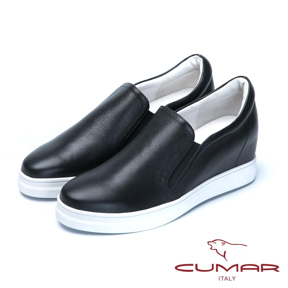 CUMAR舒適樂活嚴選真皮內增高休閒鞋-黑